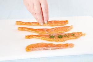 cozinhar salmão foto