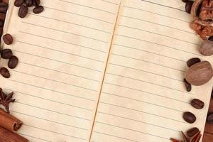 papel velho para receitas e especiarias