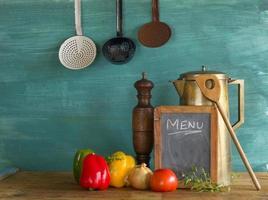 menu w. ingredientes alimentares, receitas culinárias