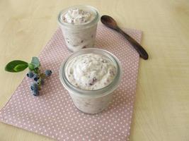 sorvete de iogurte congelado com mirtilos