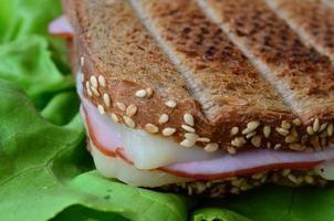 sanduíche integral de torrada, presunto e queijo foto