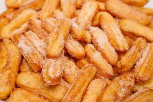 churros closeup, um típico doce espanhol foto