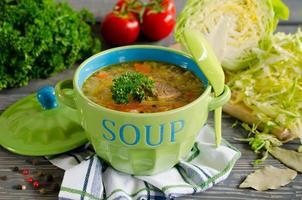 shchi - sopa de couve russa tradicional em uma mesa de madeira foto