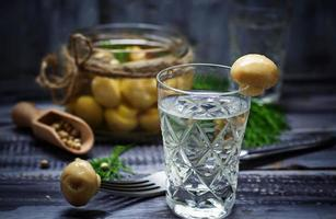 copo de vodka russa e cogumelos em conserva foto