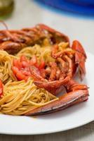 espaguete com lagosta americana