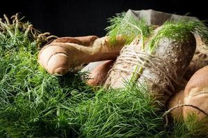 variedade de pães franceses de trigo com endro verde foto