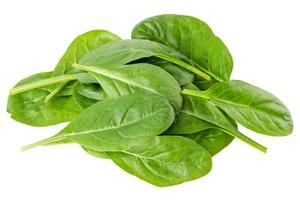 folhas verdes de espinafre isolado no fundo branco foto