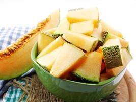 close-up de fatias de melão cantalupo