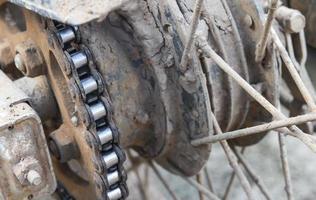 rodas de sujeira da motocicleta foto