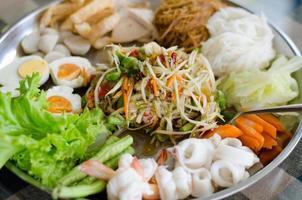 salada de mamão (som tum em prato grande)