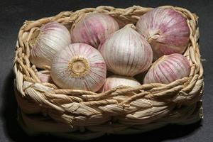 cesta com deliciosos tubérculos de alho. foto