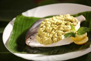 ingredientes para um delicioso prato de parsi cozido / cozido no vapor. foto