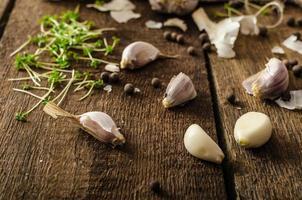 bio alho doméstico - tcheco, especiarias e microgreens frescos foto