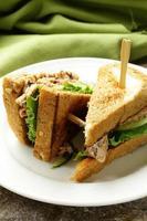 sanduíche de atum com pepino e alface foto