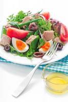 salada nicoise em fundo branco foto