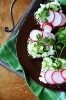 bruschetta delicioso com rabanete foto