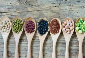 coleção de grãos, cereais, sementes, feijão foto