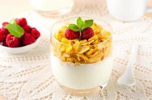 café da manhã com flocos de cereais, iogurte e framboesas frescas