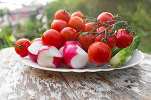 prato com tomate cereja, pepino, pimenta foto