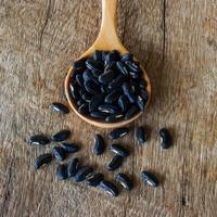 colher de sementes de feijão na mesa de madeira foto