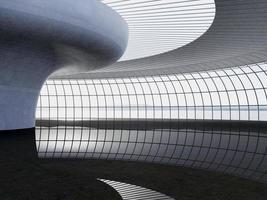Renderização em 3d. moderno terminal de passageiros do aeroporto. Arquitetura moderna foto
