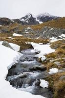 paisagem de córrego e montanha