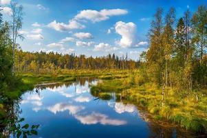 paisagem de outono com lago de salmão foto