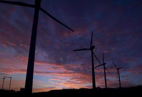 moinhos de vento em uma linha