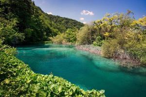 lago em lagos plitvice parque nacional foto
