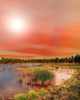 pôr do sol do lago