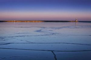 farol do lago michigan foto