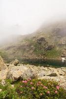 Lago alpino enevoado