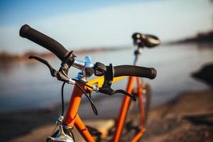 laranja, vintage, bicicleta urbana