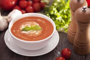 deliciosa sopa de tomate com especiarias aromáticas foto