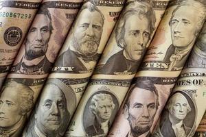 dinheiro ou retratos de presidentes foto
