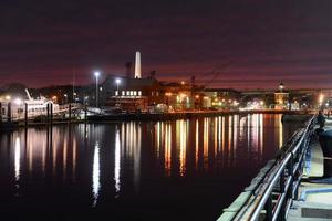 porto de boston ao pôr do sol, eua