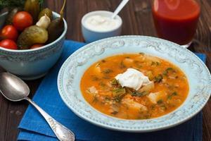 sopa com pepino em conserva, batata, tomate e creme de leite foto