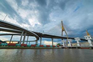 ponte de bhumiphol e maneira da inundação foto