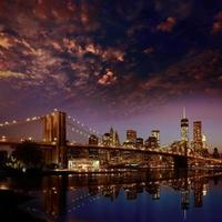 ponte de brooklyn pôr do sol nova iorque manhattan