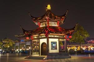 o pavilhão à noite no templo confucionista foto