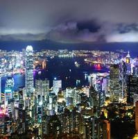 paisagem urbana em hong kong à noite foto