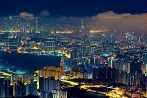 noite de hong kong foto
