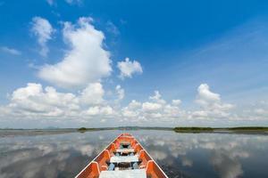 barco no lago com céu azul nublado