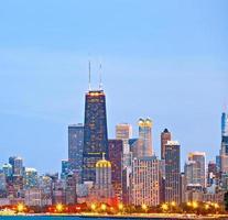 skyline de chicago dos edifícios do centro foto