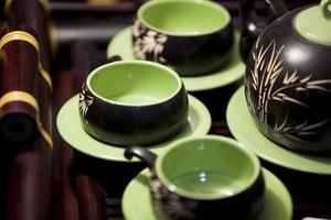 conjunto de bule de chá foto