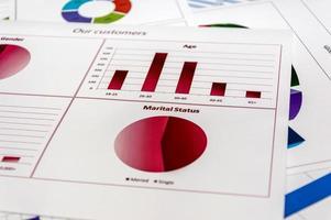 documentos com estatística e pesquisa analítica para relatório foto