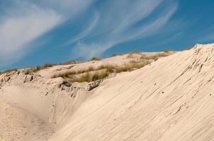 dunas de areia com grama e céu azul.