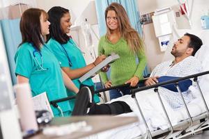 enfermeiras discutindo ficha médica com o paciente e sua esposa