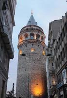 vista da torre galata entre os edifícios