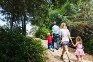 família caminhando na floresta foto